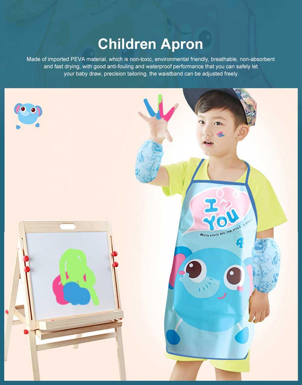 Children Cartoon Apron, PEVA Creative Lovely Pattern Cute Apron, Waterproof Painting Anti-fouling Sleeveless Bust Apron 0