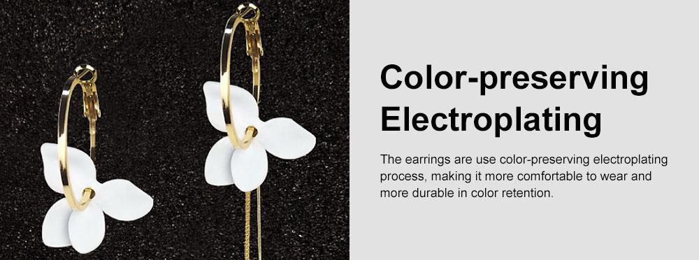 925 Silver Earrings, Fashion Asymmetric Long Pendant, Chic Gold Circle Hoop Seaside Holiday Style Flower Eardrop 3