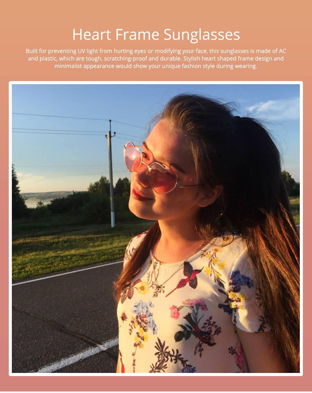 Minimalist Stylish Heart Shape Frame Unisex Sunglasses, Sun UV Protection Outdoors Decoration Dress Up Sunglasses for Ladies 0