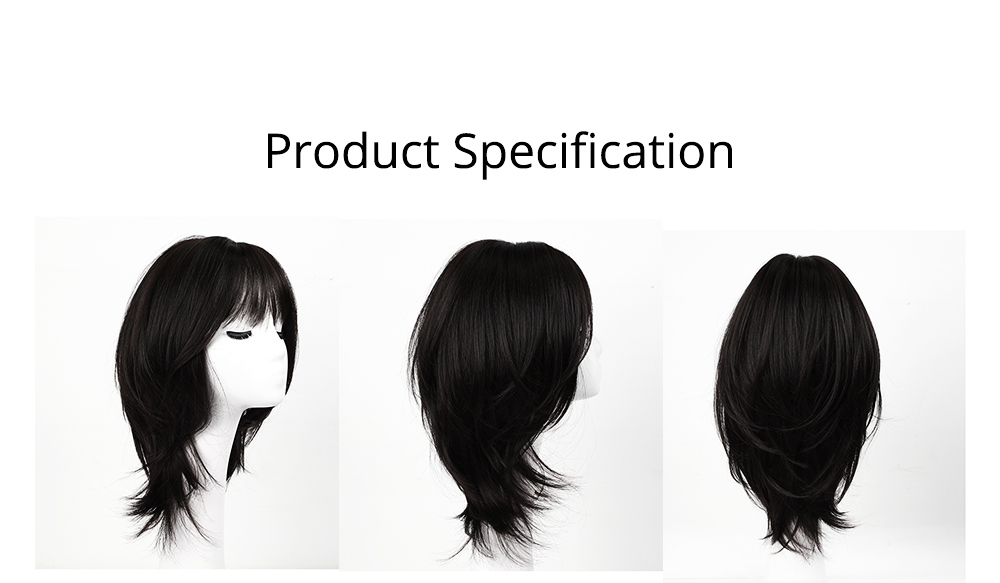 Cut Black Sanded High-temperature Wire Medium-Length Wig, Stylish Fashion Slightly Curled Hairpiece for Women 5