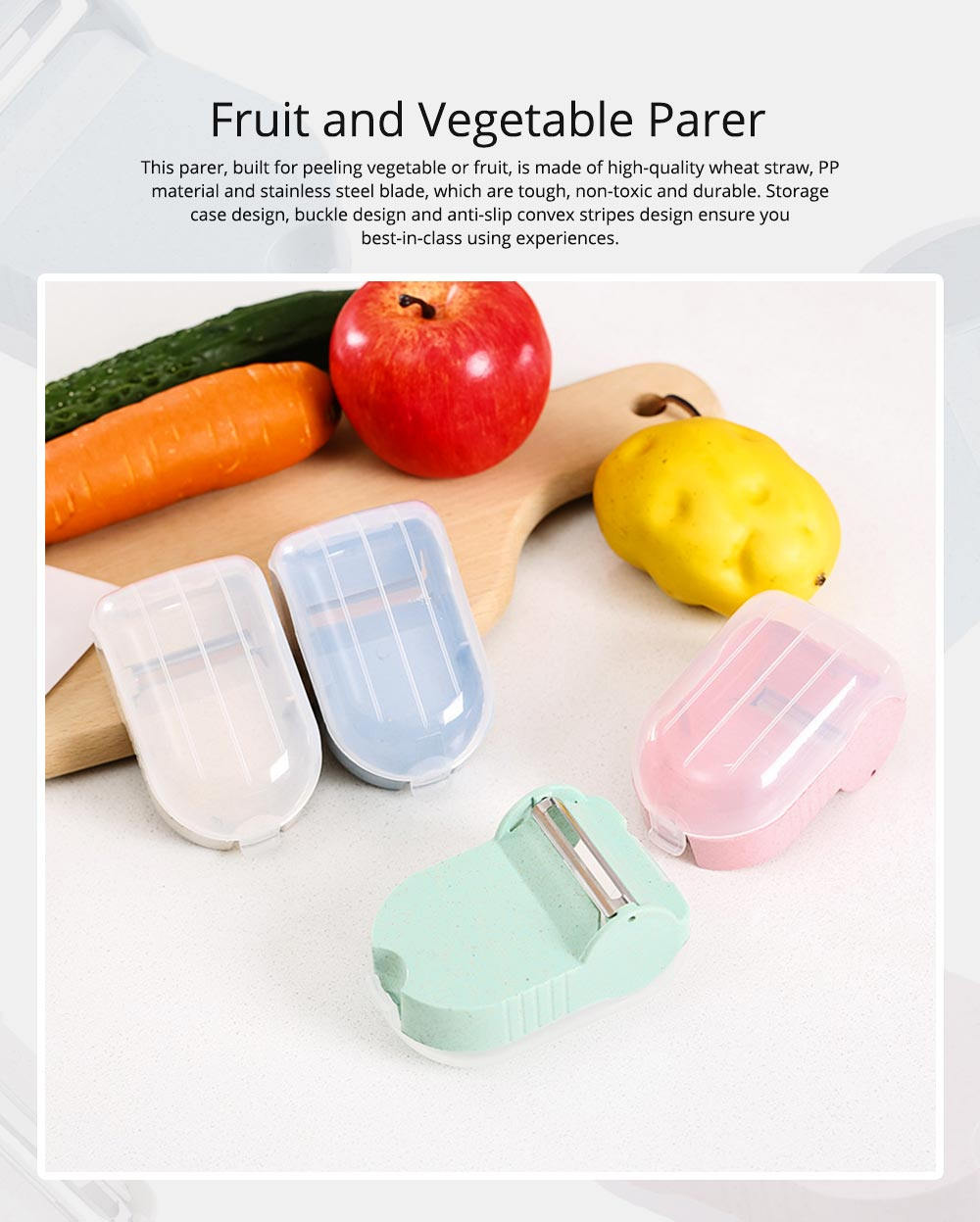 Creative Wheat Straw Stainless Steel Vegetable Fruit Parer, Carrot Cucumber Peeler with Storage Box Kitchen Tools 0