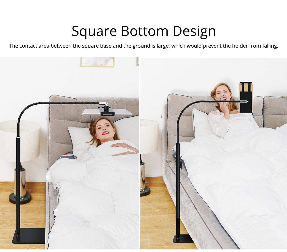 360 Degree Rotation Floor Stand, Universal Mobile Phone Tablet Computer Clamp Holder, Flexible Steel Pipe Smartphone Bedside Supporter 4