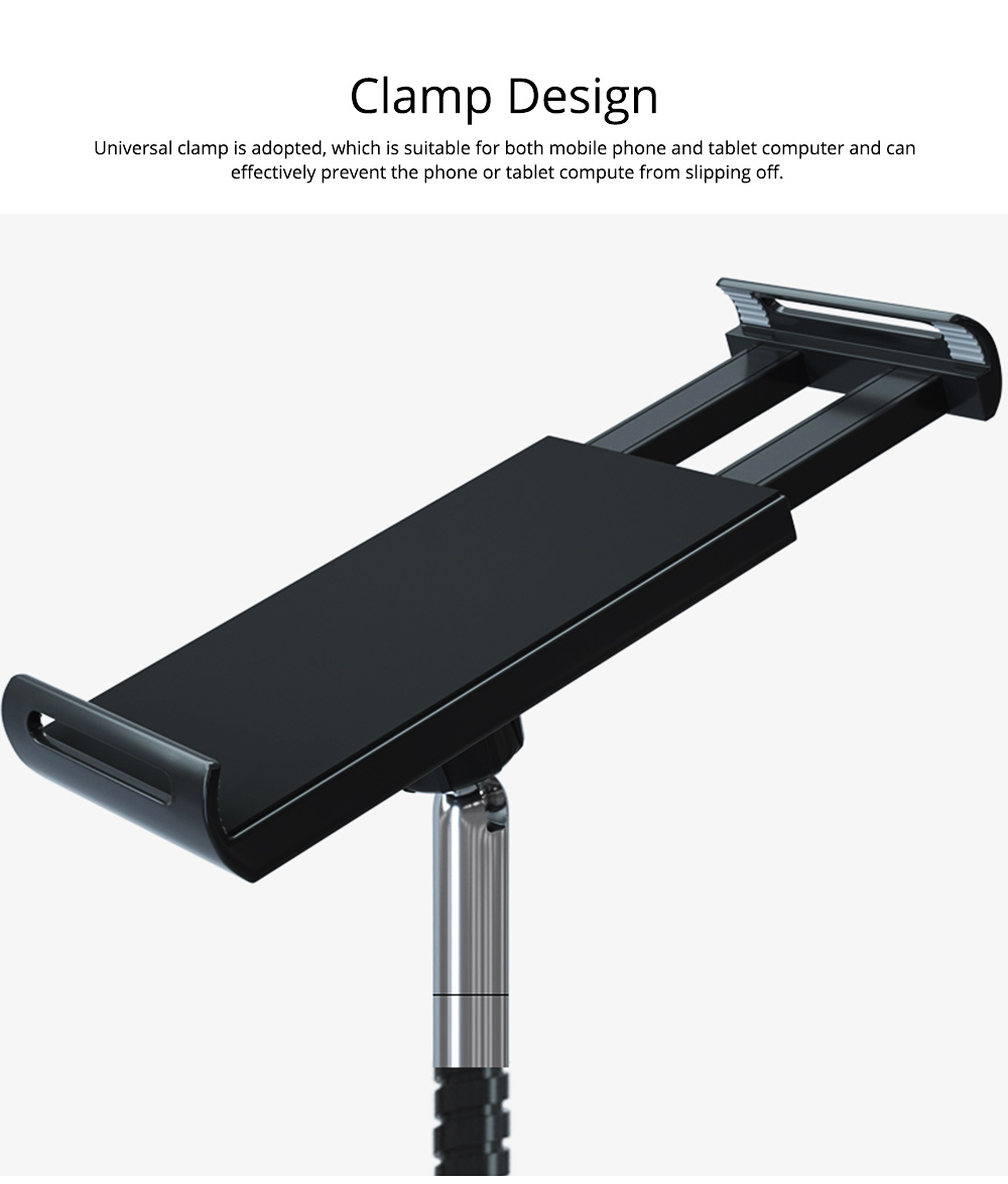 360 Degree Rotation Floor Stand, Universal Mobile Phone Tablet Computer Clamp Holder, Flexible Steel Pipe Smartphone Bedside Supporter 9
