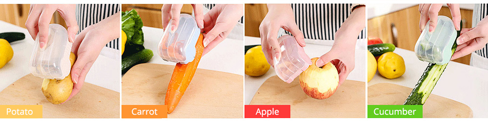 Creative Wheat Straw Stainless Steel Vegetable Fruit Parer, Carrot Cucumber Peeler with Storage Box Kitchen Tools 5