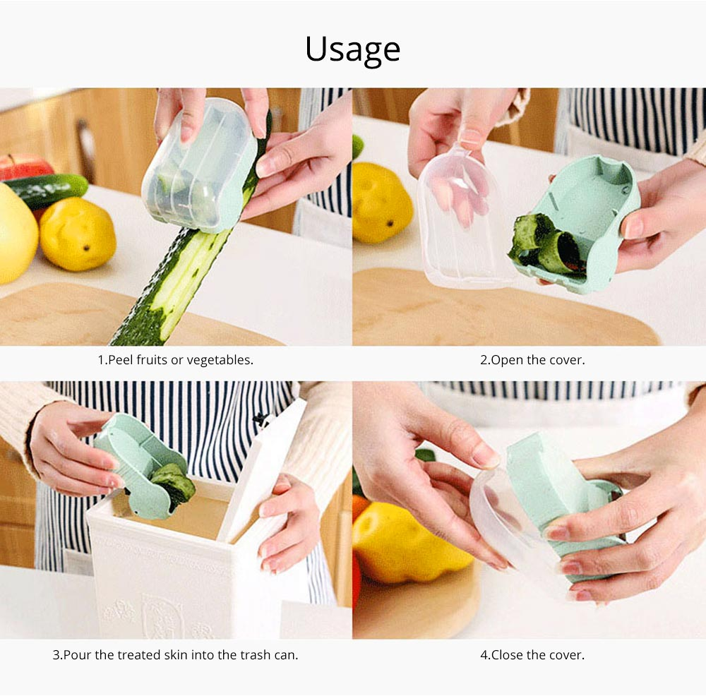 Creative Wheat Straw Stainless Steel Vegetable Fruit Parer, Carrot Cucumber Peeler with Storage Box Kitchen Tools 10