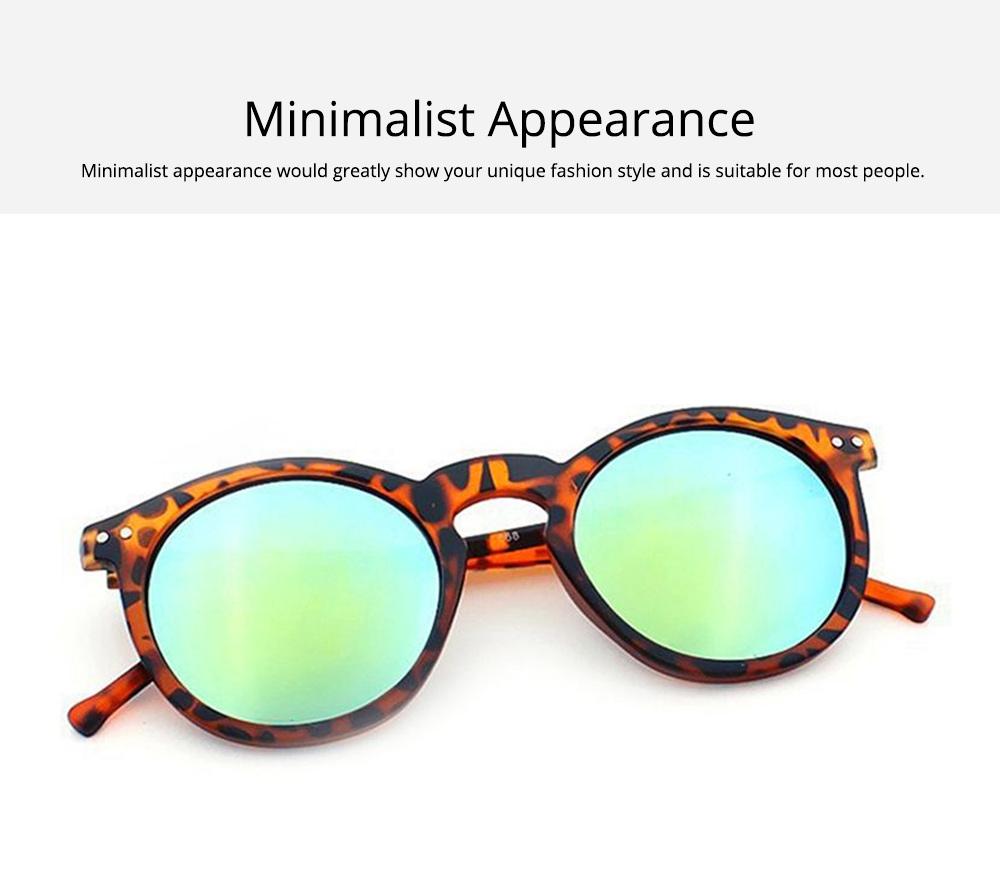 Fashion Minimalist Round Frame Lady Sunglasses, Sunlight Protection Decoration Sanded Frame Sunglasses for Women 3