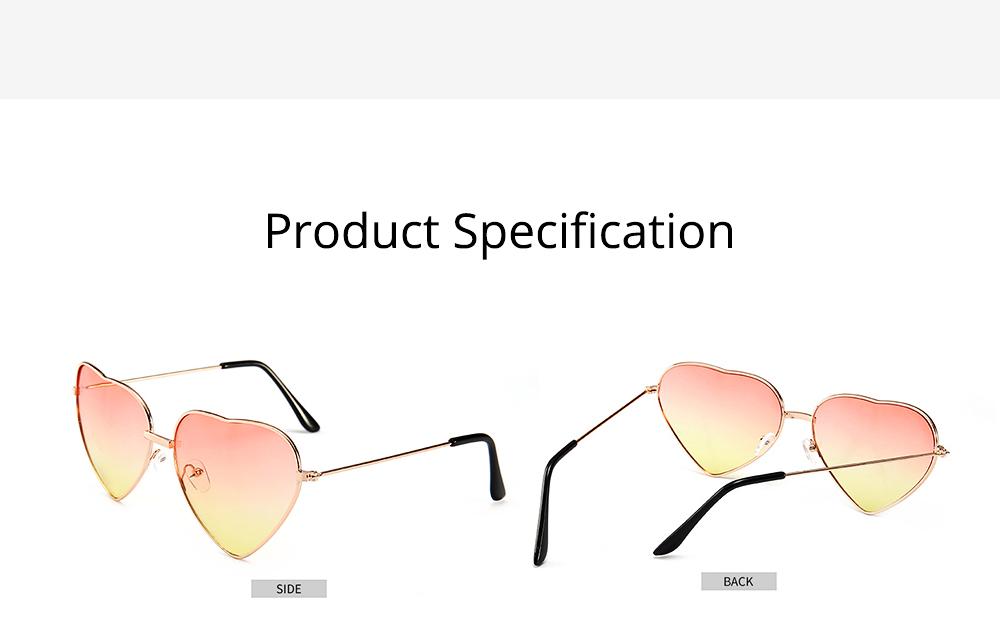Minimalist Stylish Heart Shape Frame Unisex Sunglasses, Sun UV Protection Outdoors Decoration Dress Up Sunglasses for Ladies 6