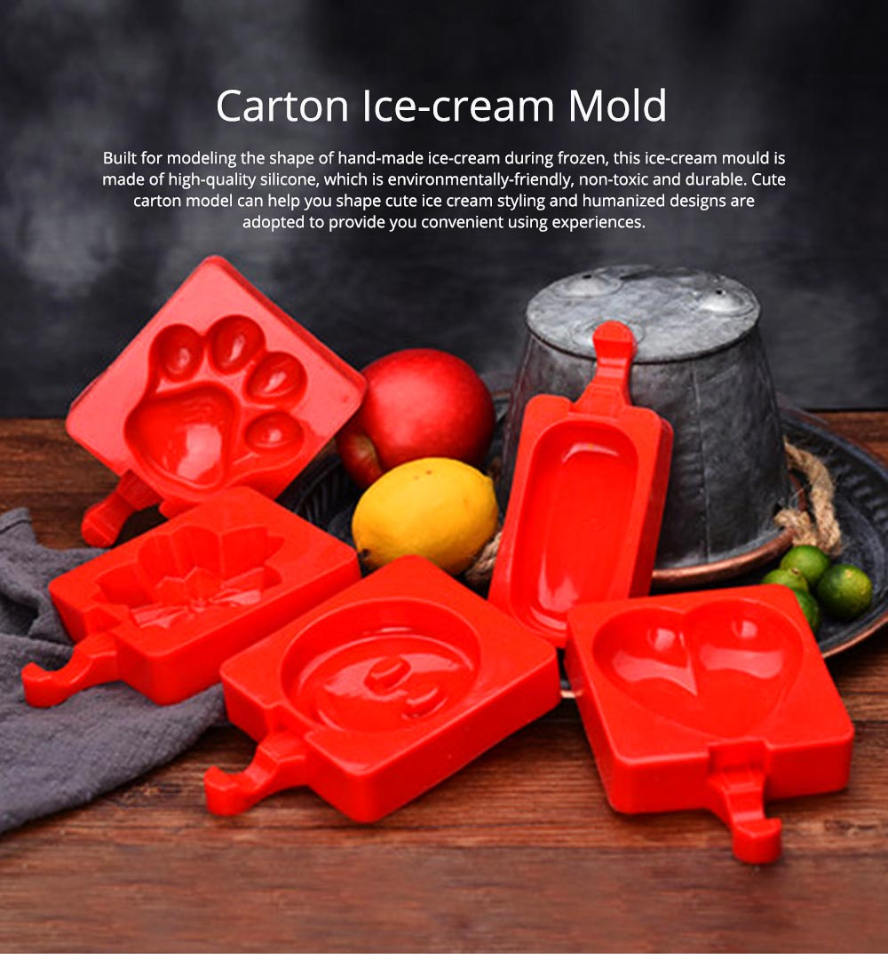 Creative Cute Carton Ice Mold, Silicone Frozen Ice-cream Mould, Safe DIY Juice Popsicle Ice Maker Mold Kitchen Tools 0