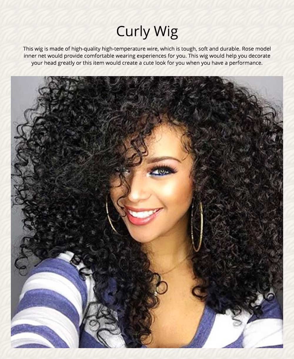 Delicate Short Fashion Kinky Curly Wig for Women, Tough High-temperature Wire Synthetic Hair for Ladies 0