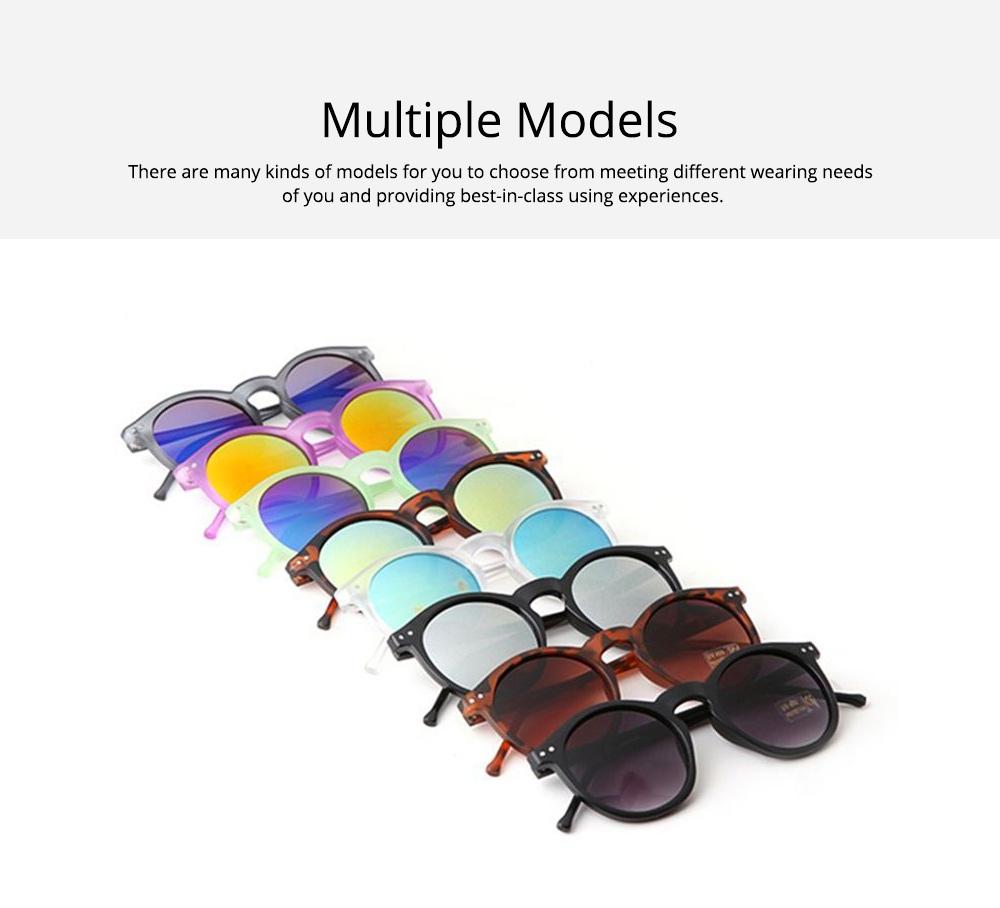 Fashion Minimalist Round Frame Lady Sunglasses, Sunlight Protection Decoration Sanded Frame Sunglasses for Women 4