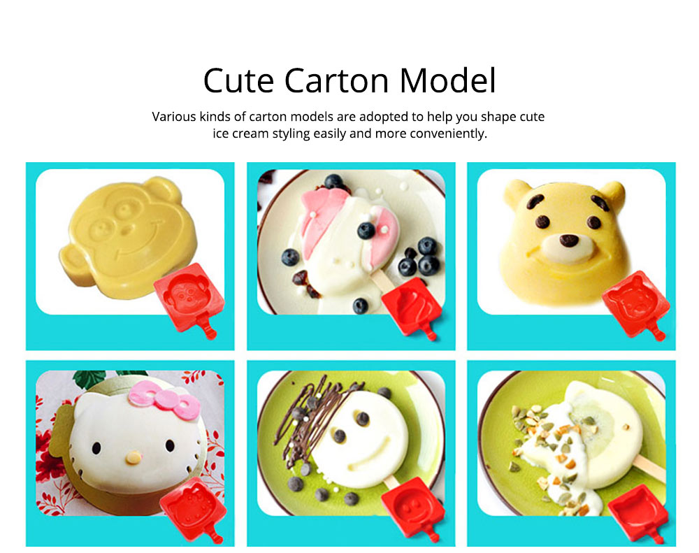 Creative Cute Carton Ice Mold, Silicone Frozen Ice-cream Mould, Safe DIY Juice Popsicle Ice Maker Mold Kitchen Tools 3