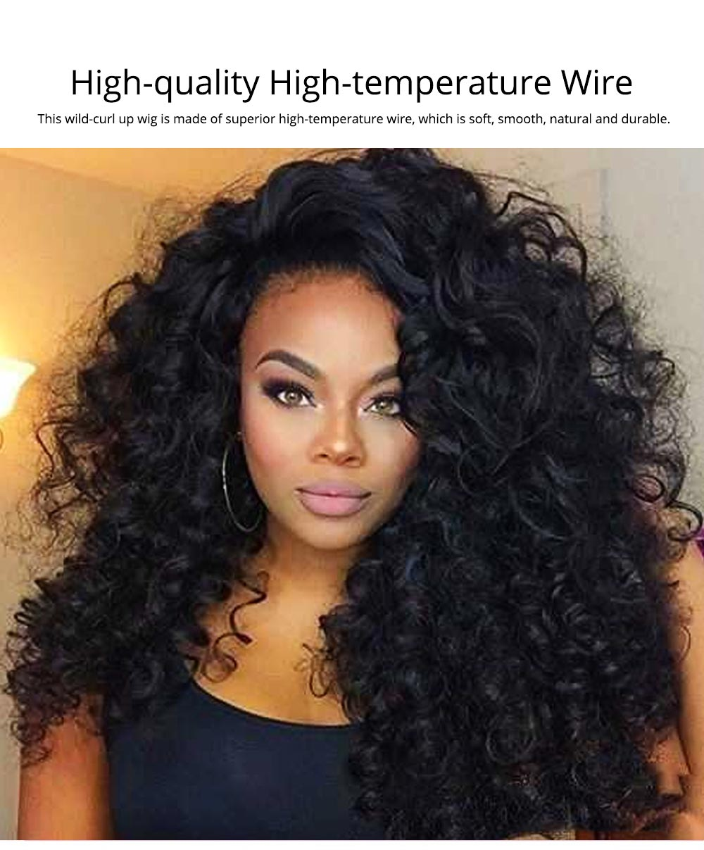 Delicate Black High-temperature Wire Long Curly Wig, Quality Wild-curl Up Hairpiece with Breathable Rose Model Inner Net 1
