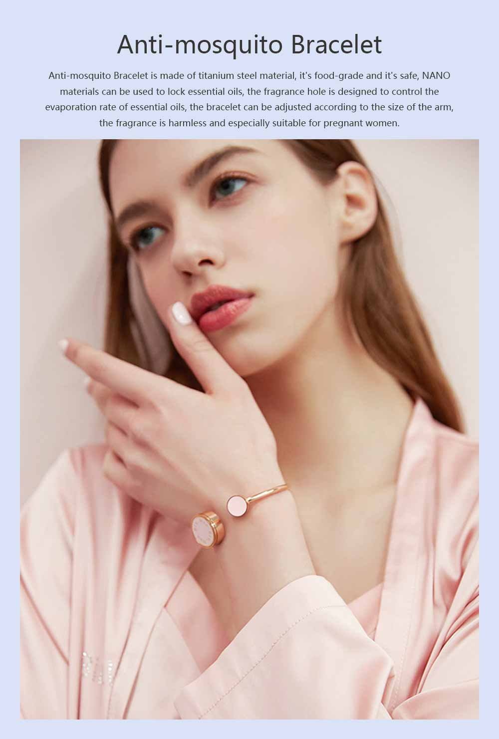 Mosquito Repellent Band, Titanium Steel Material Harmless with Perfume Incense Core, Safe for Pregnant Women Anti-mosquito Bracelet 0