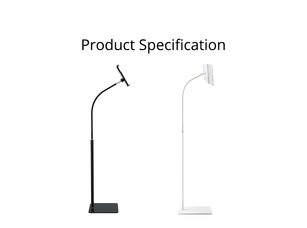 360 Degree Rotation Floor Stand, Universal Mobile Phone Tablet Computer Clamp Holder, Flexible Steel Pipe Smartphone Bedside Supporter 10