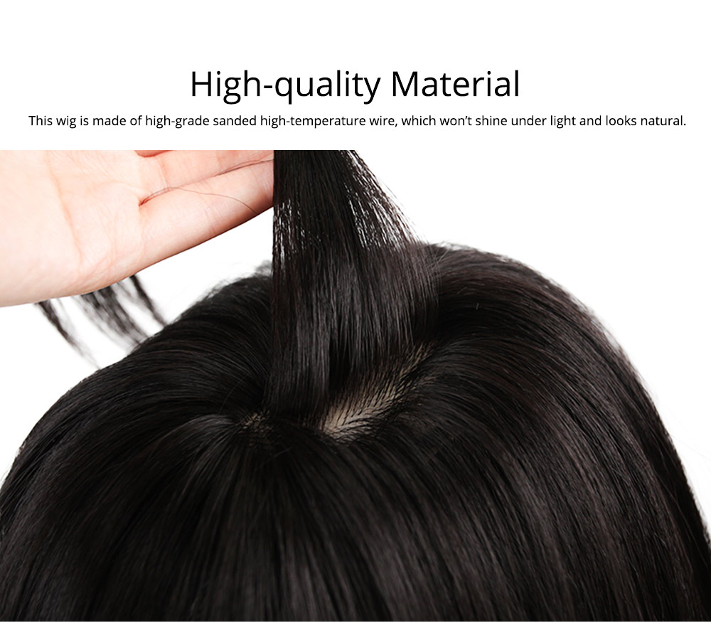 Cut Black Sanded High-temperature Wire Medium-Length Wig, Stylish Fashion Slightly Curled Hairpiece for Women 1