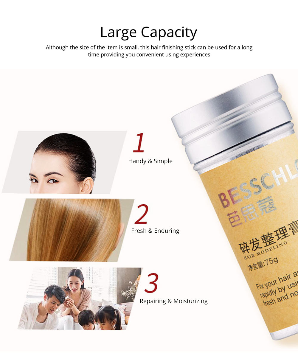 Portable Large Capacity Hair Finishing Fixing Paste Stick, Anti-frizz Hair Shaping Modeling Styling Ointment with Brush 6