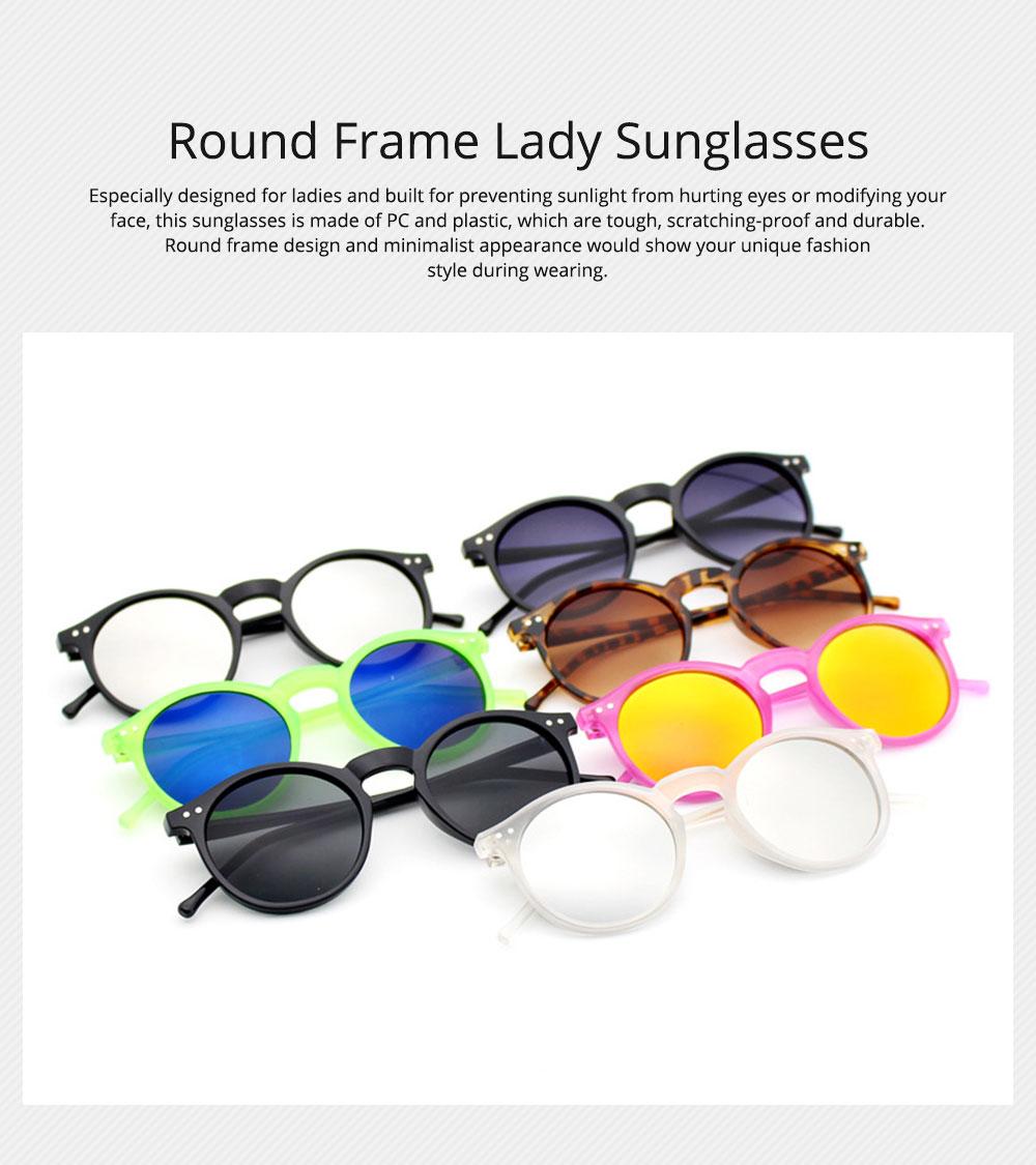Fashion Minimalist Round Frame Lady Sunglasses, Sunlight Protection Decoration Sanded Frame Sunglasses for Women 0