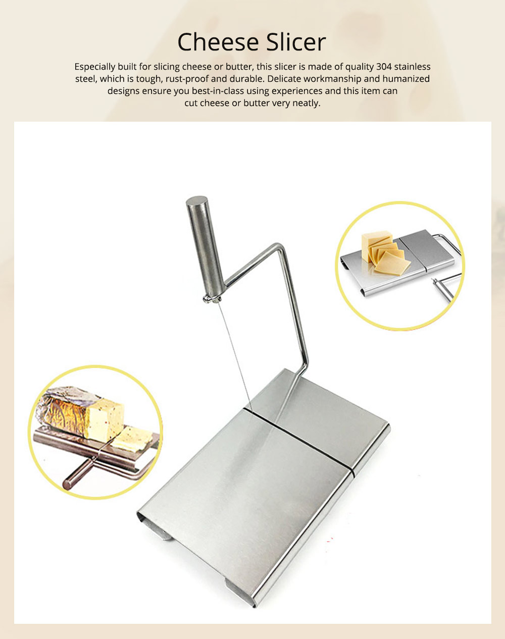 Professional Quality 304 Stainless Steel Cheese Slicer, Butter Cutter Board with Replaceable Slicing Line 0