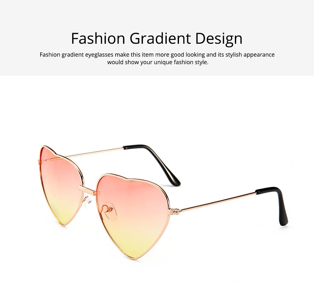 Minimalist Stylish Heart Shape Frame Unisex Sunglasses, Sun UV Protection Outdoors Decoration Dress Up Sunglasses for Ladies 5