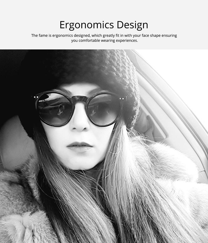 Fashion Minimalist Round Frame Lady Sunglasses, Sunlight Protection Decoration Sanded Frame Sunglasses for Women 5