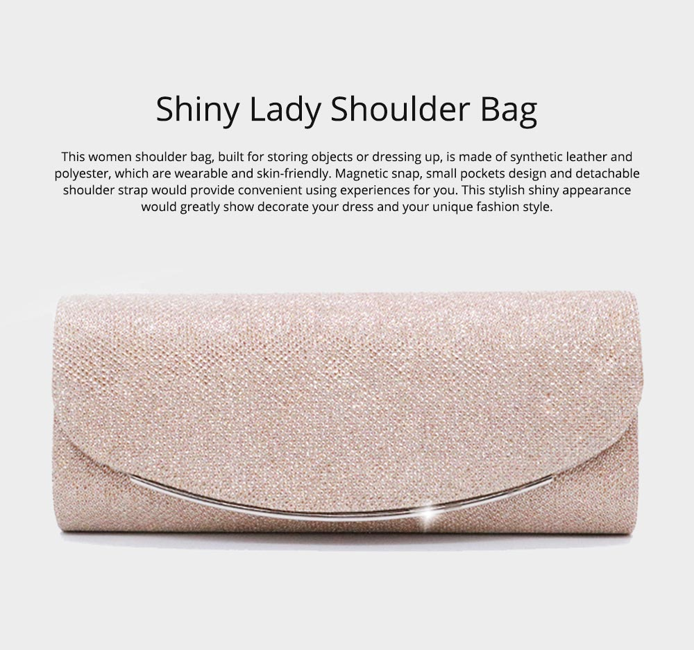 Delicate Fancy Shinny Synthetic Leather Women Shoulder Bag, Fashion Elegant Lady Evening Hand Bag for Party Wedding 0
