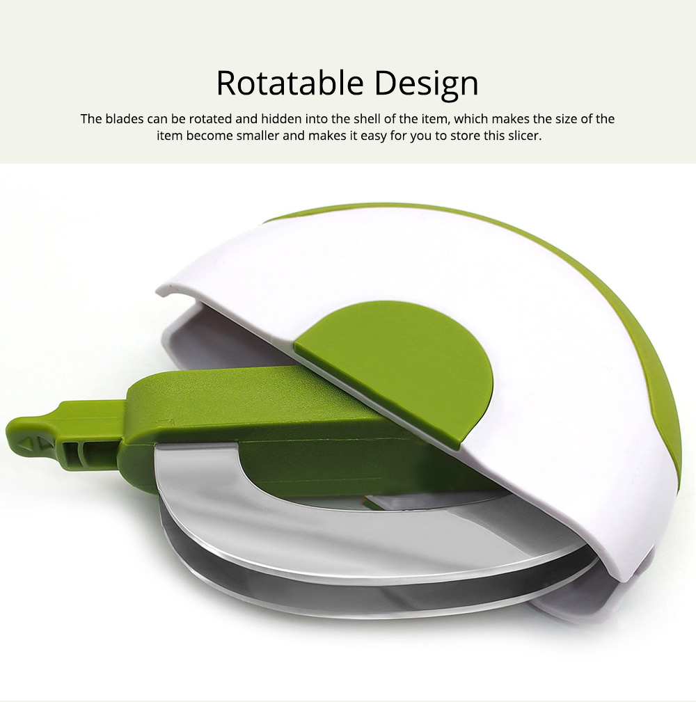 Creative Stainless Steel Vegetable Fruit Salad Double Blades Slicer, Safe Rotate Quick Ktichen Cutter Chopper with Lock 4