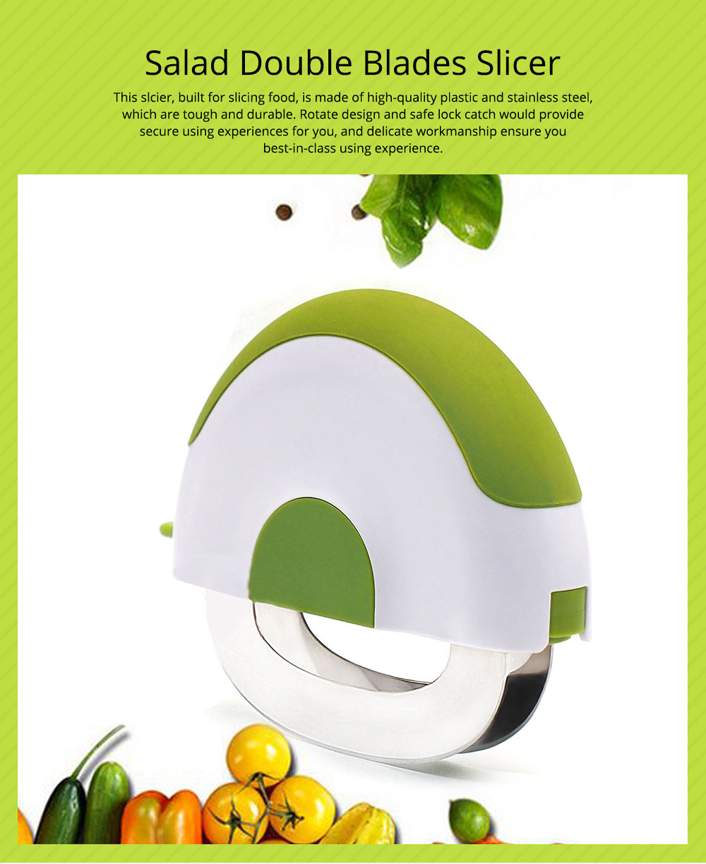 Creative Stainless Steel Vegetable Fruit Salad Double Blades Slicer, Safe Rotate Quick Ktichen Cutter Chopper with Lock 0