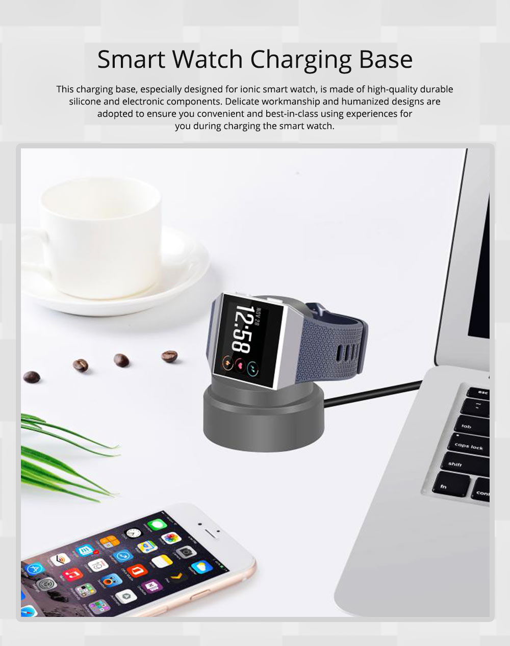 Small Ionic Watch Wireless Charging Base, Scratching-proof Silicone Smart Watch Charger 0