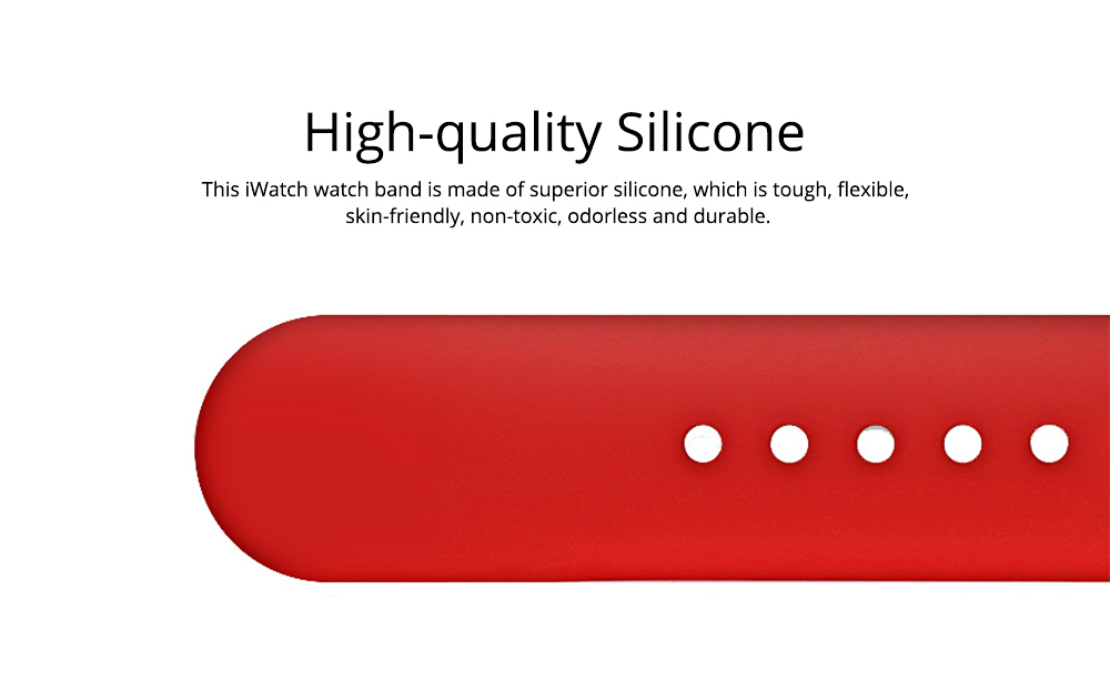 Skin-friendly Silicone Single Colored iWatch Watchband, Unisex Universal Sports Durable Apple Watch Strap 1