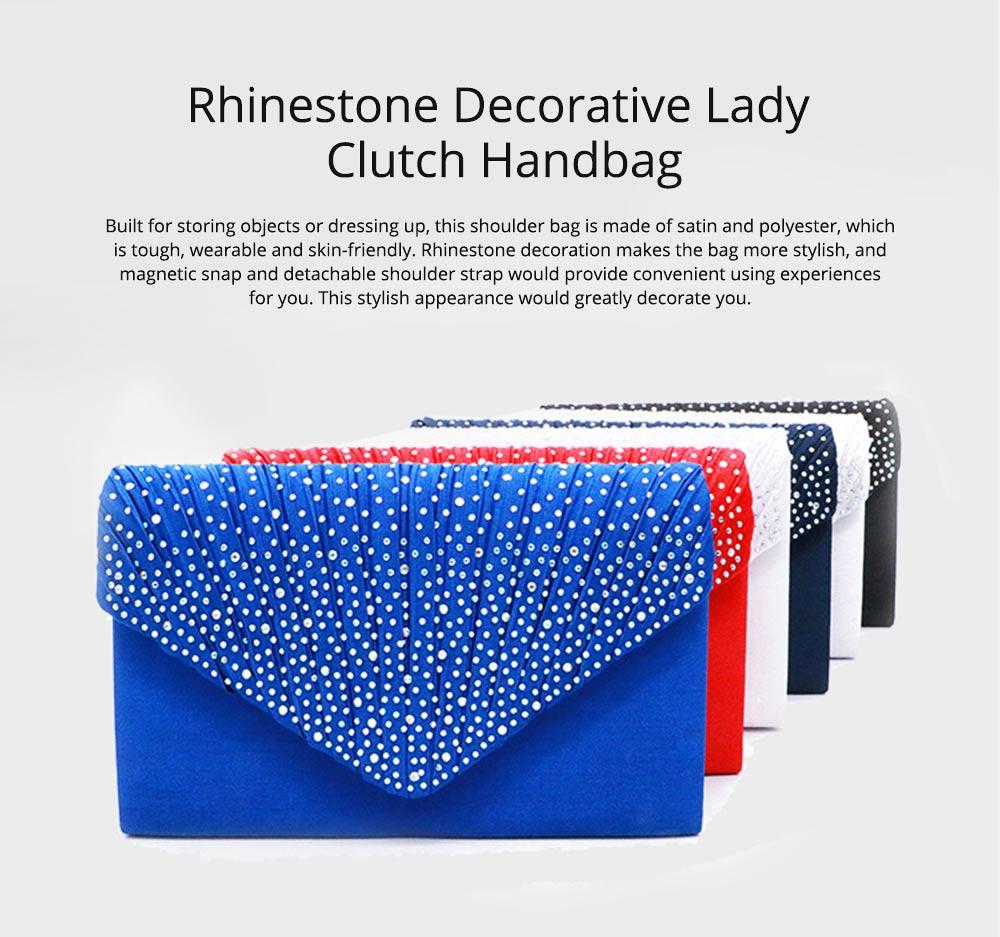 2019 Elegant Clutch Rhinestone Decorative Lady Evening Shoulder Bag, Skin-friendly Satin Polyester Fancy Women Cosmetic Hand Bag 0