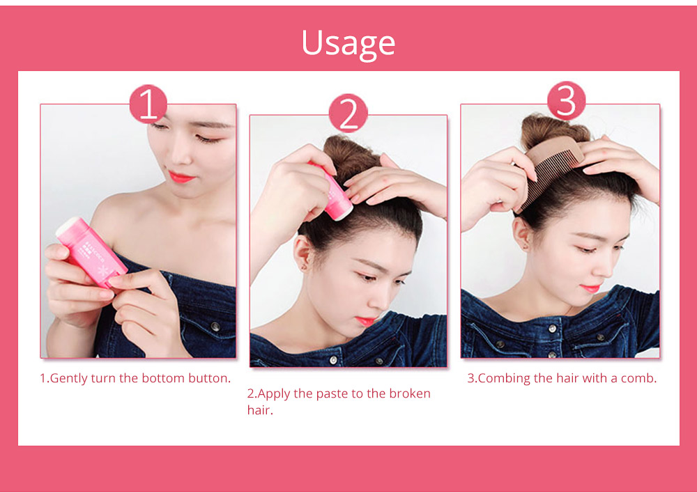 Portable Broken Hair Finishing Fixing Cream Paste Stick, Functional Hair Styling Shaping Modeling Stereotypes Ointment with Brush 8