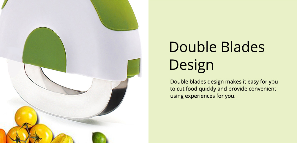 Creative Stainless Steel Vegetable Fruit Salad Double Blades Slicer, Safe Rotate Quick Ktichen Cutter Chopper with Lock 3