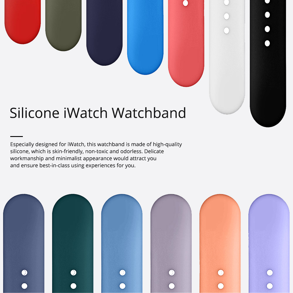 Skin-friendly Silicone Single Colored iWatch Watchband, Unisex Universal Sports Durable Apple Watch Strap 0