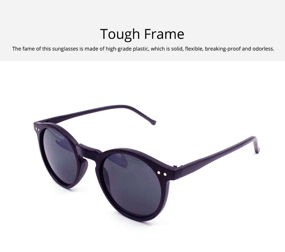 Fashion Minimalist Round Frame Lady Sunglasses, Sunlight Protection Decoration Sanded Frame Sunglasses for Women 2