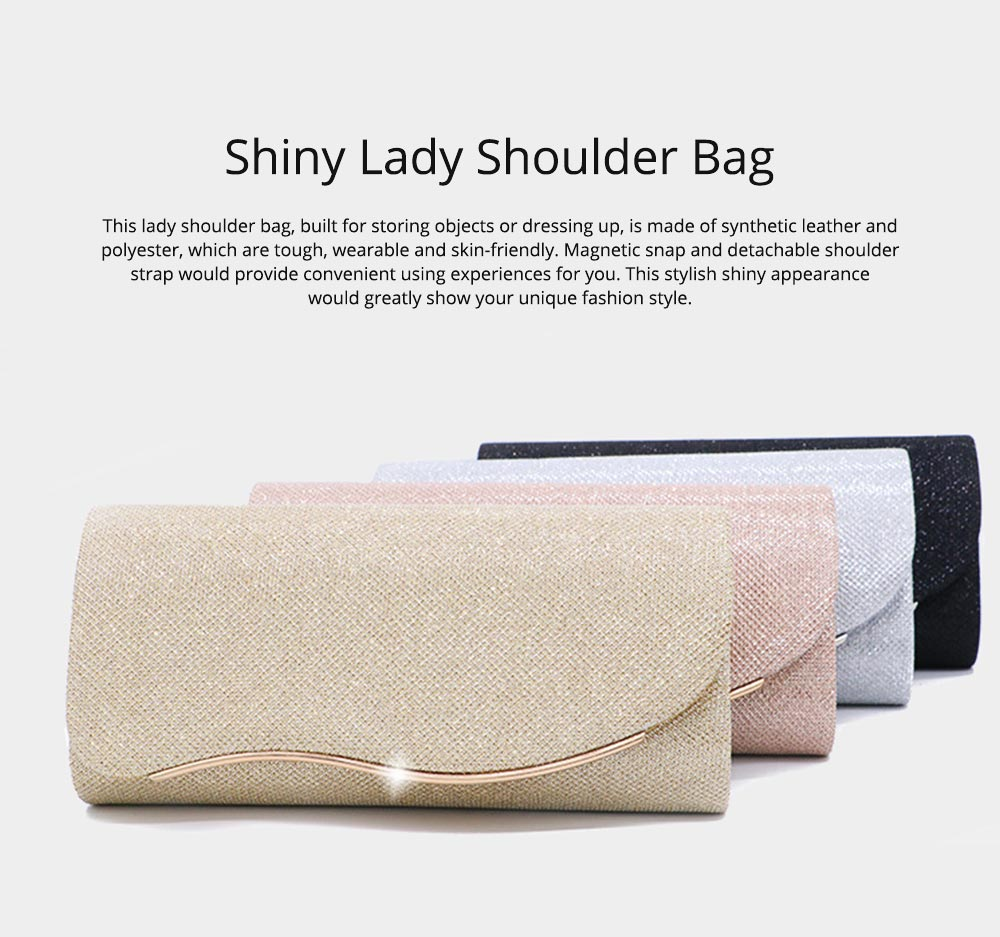 Fancy Elegant Shiny Synthetic Leather Lady Evening Shoulder Bag, Small Simple Women Hand Bag with Detachable Metal Shoulder Strap 0