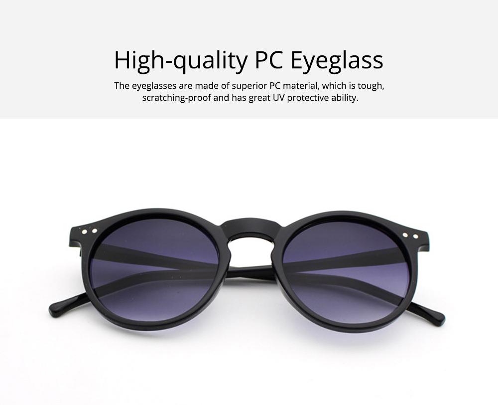 Fashion Minimalist Round Frame Lady Sunglasses, Sunlight Protection Decoration Sanded Frame Sunglasses for Women 1
