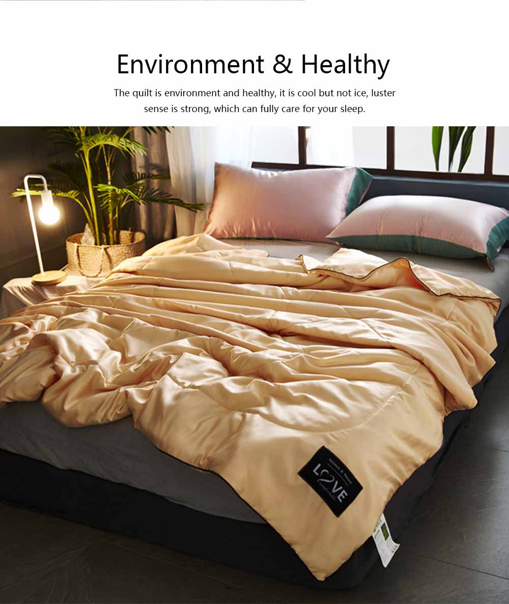 Quilt Ice Silk Material Washable Bedspreads, Fill with Polyester Fiber Smooth Comforter in Summer, Skin-friendly Blanket Summer Quilt 6