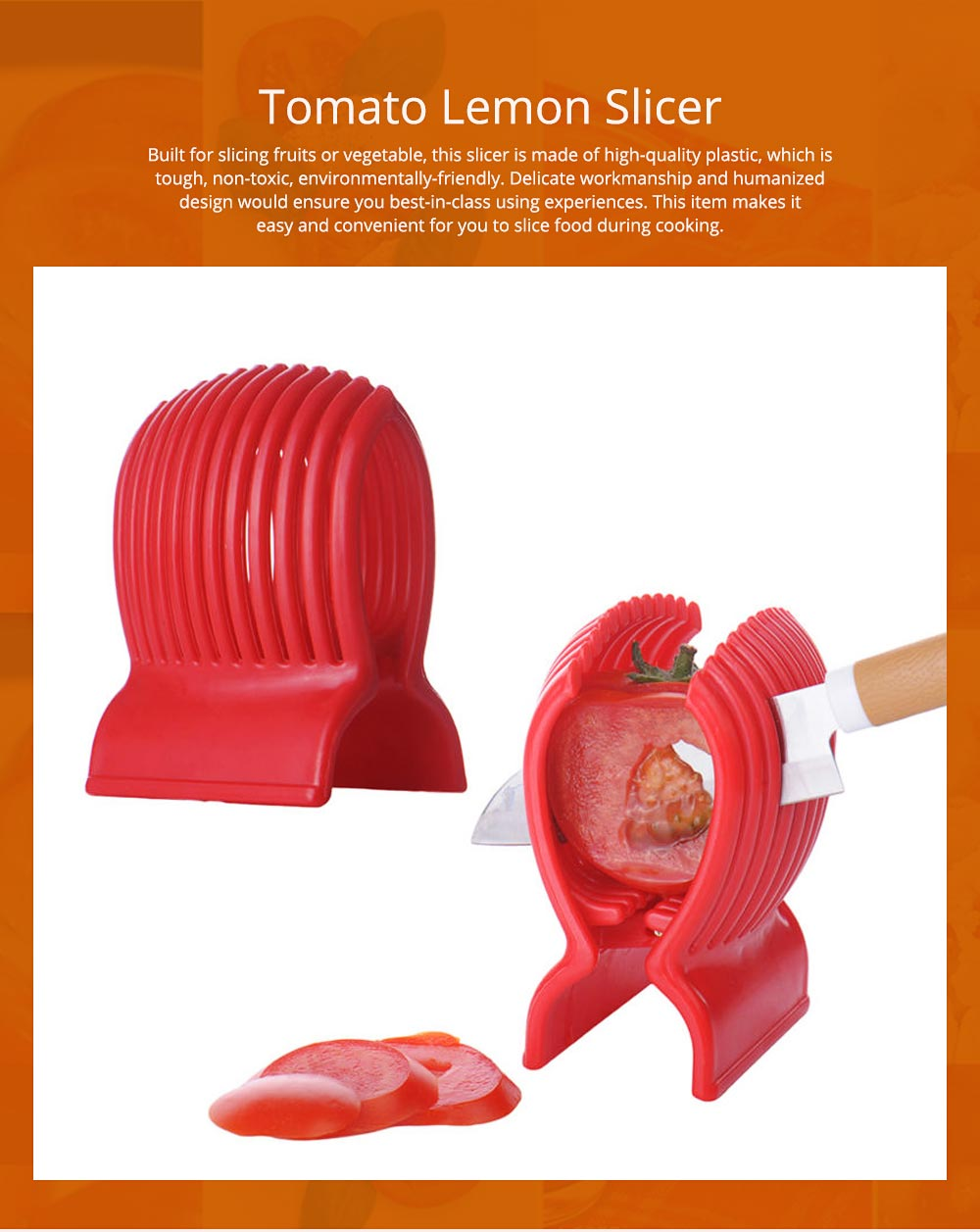 Tomato Lemon Fruits Vegetable Slicer Clip, Handy Kitchen Cooking Onion Plastic Holder Slicing Tools 0