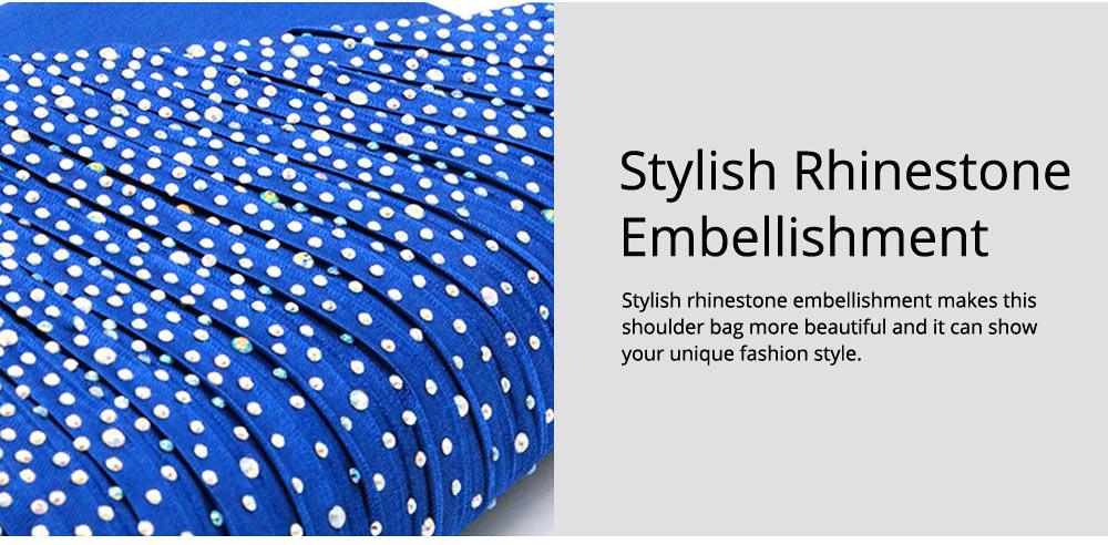 2019 Elegant Clutch Rhinestone Decorative Lady Evening Shoulder Bag, Skin-friendly Satin Polyester Fancy Women Cosmetic Hand Bag 4