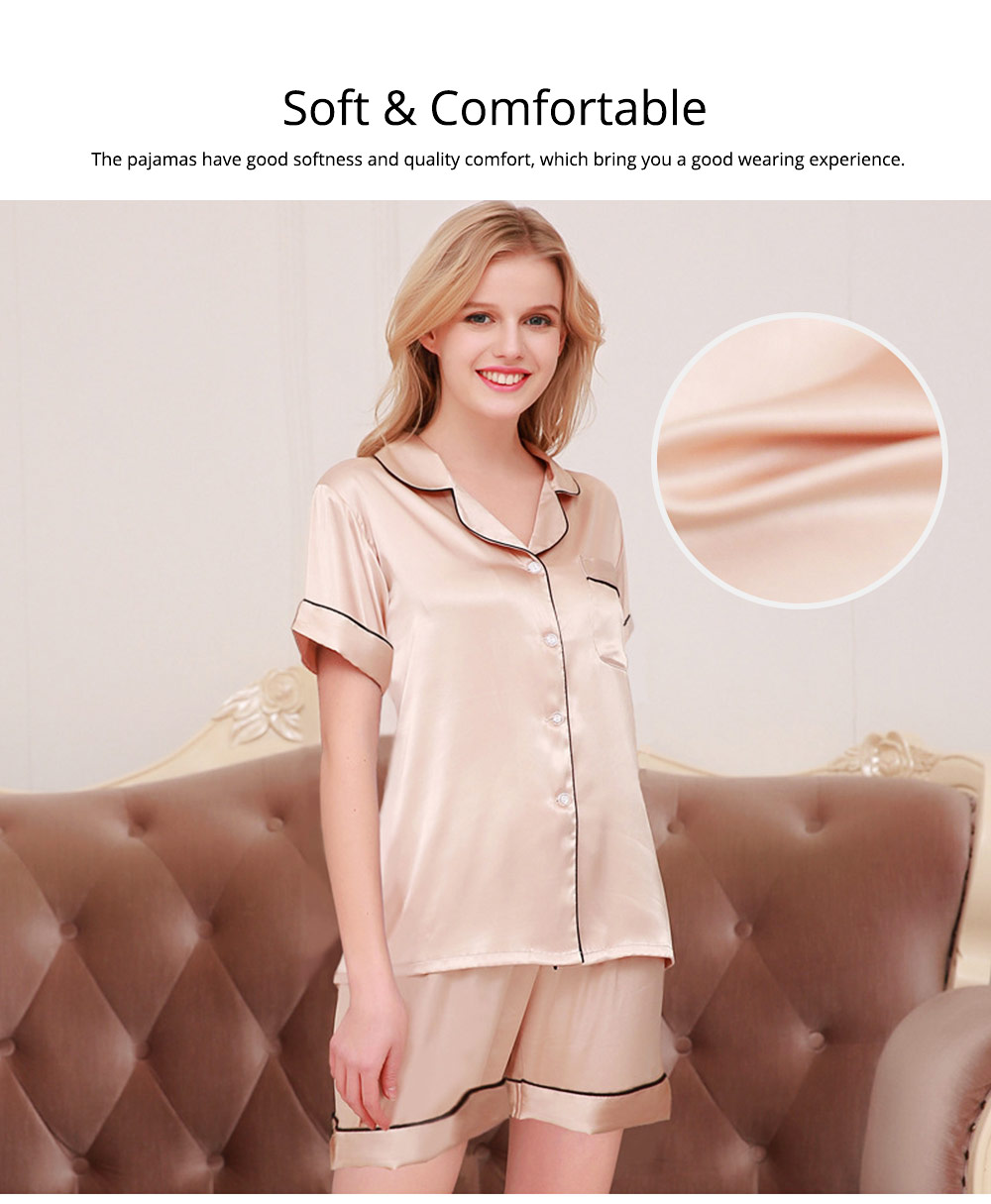 Couple Nightclothes Suit, Polyester Material Silky Feeling Soft Pajamas, Skin-friendly Nightgown Short Sleeve Shirts Pants, Breathable Nightdress for Couples Summer 3