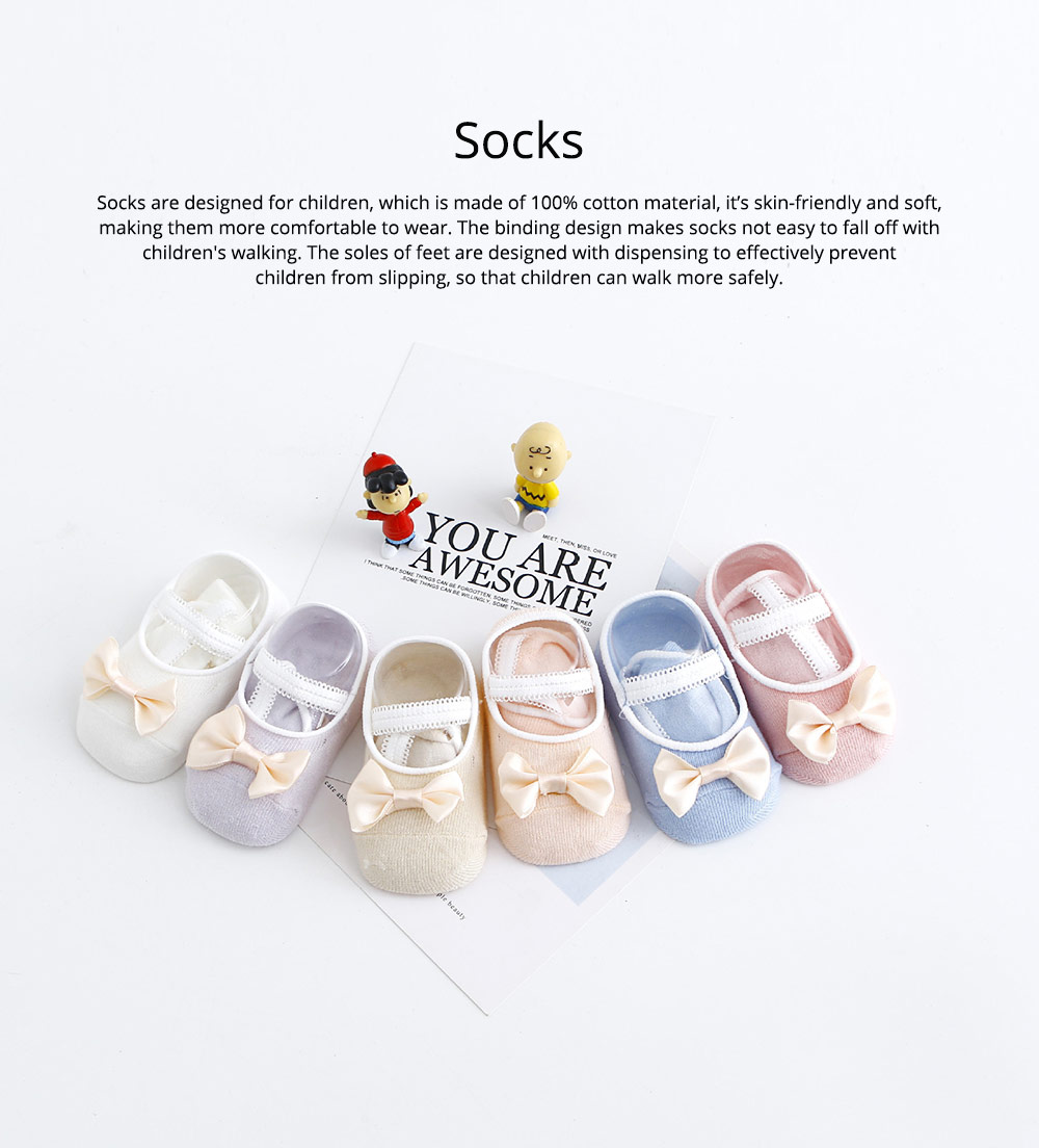 Socks Cotton Material Soft with Bow Strap, Anti-skid Foot Cover, Breathable Stockings for Kids Summer Spring 0