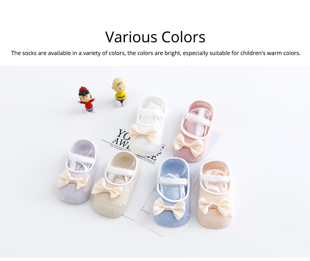 Socks Cotton Material Soft with Bow Strap, Anti-skid Foot Cover, Breathable Stockings for Kids Summer Spring 4