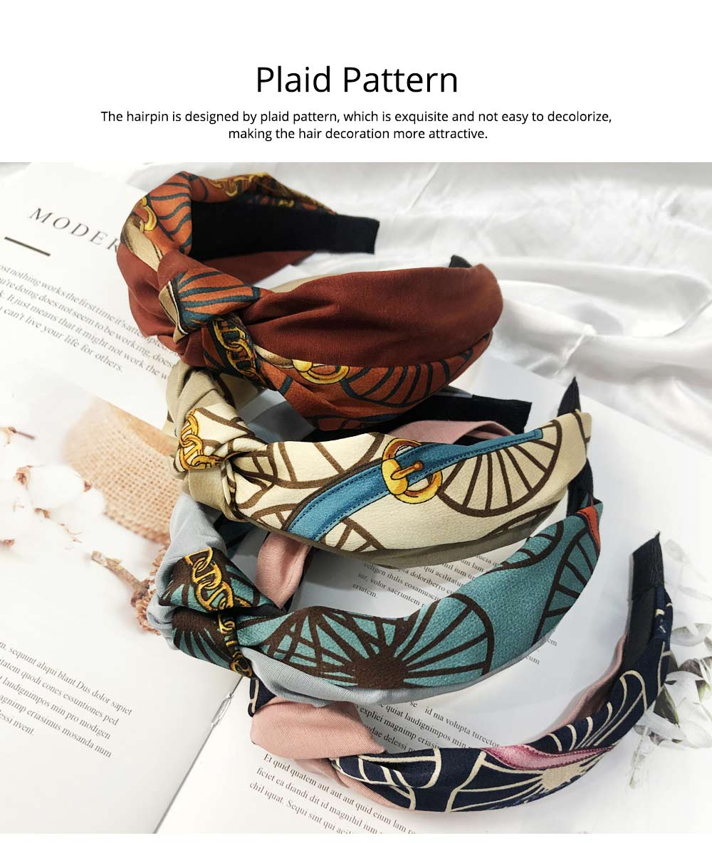 Hairpins Cloth Material Plaid Pattern, Decorations Sweet Style Hairpins for Girls, Knotted Strap Wide Hair Ornaments 4