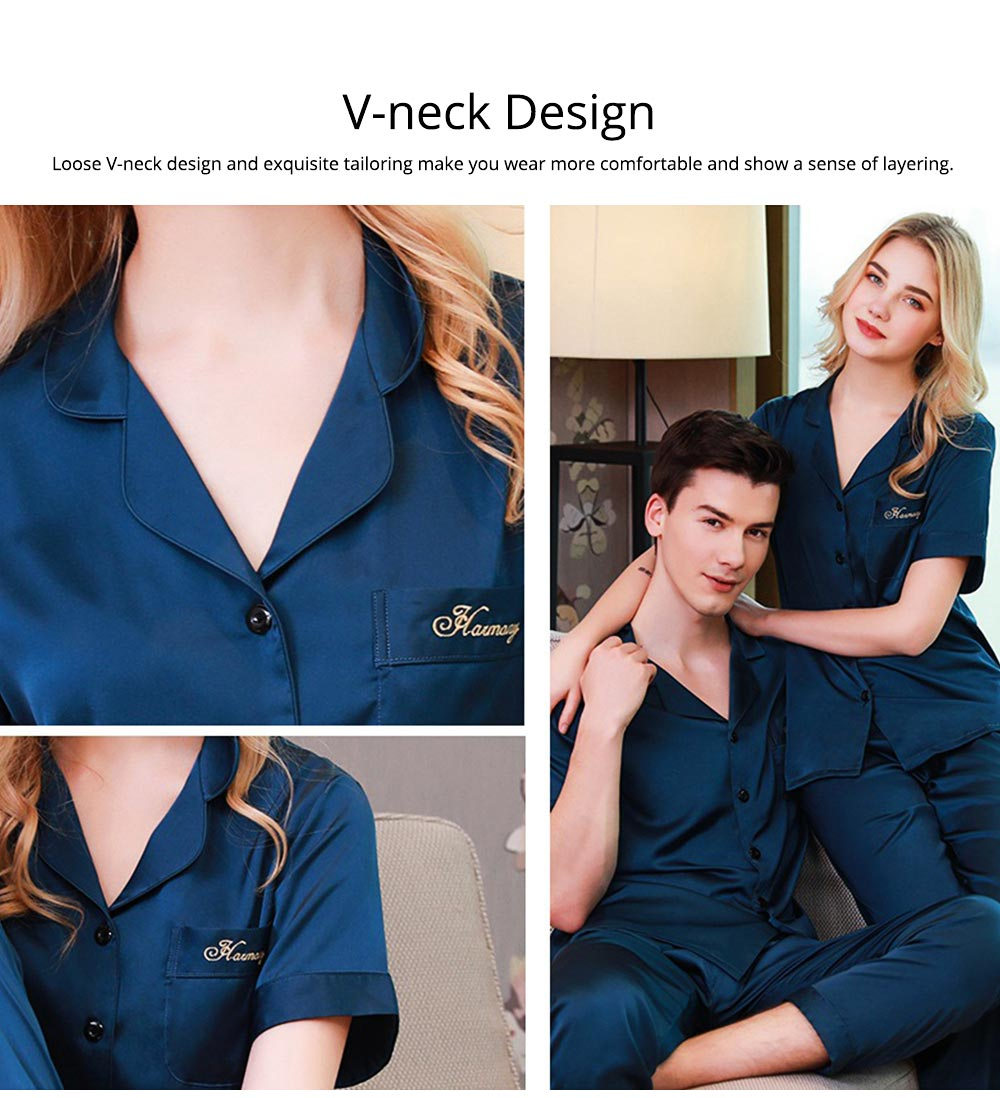 Silk Couple Pajamas, Soft Nightdress Skin-friendly Nightgown, Thin Breathable Short Sleeve V-neck Design Summer Nightclothes for Lover 1