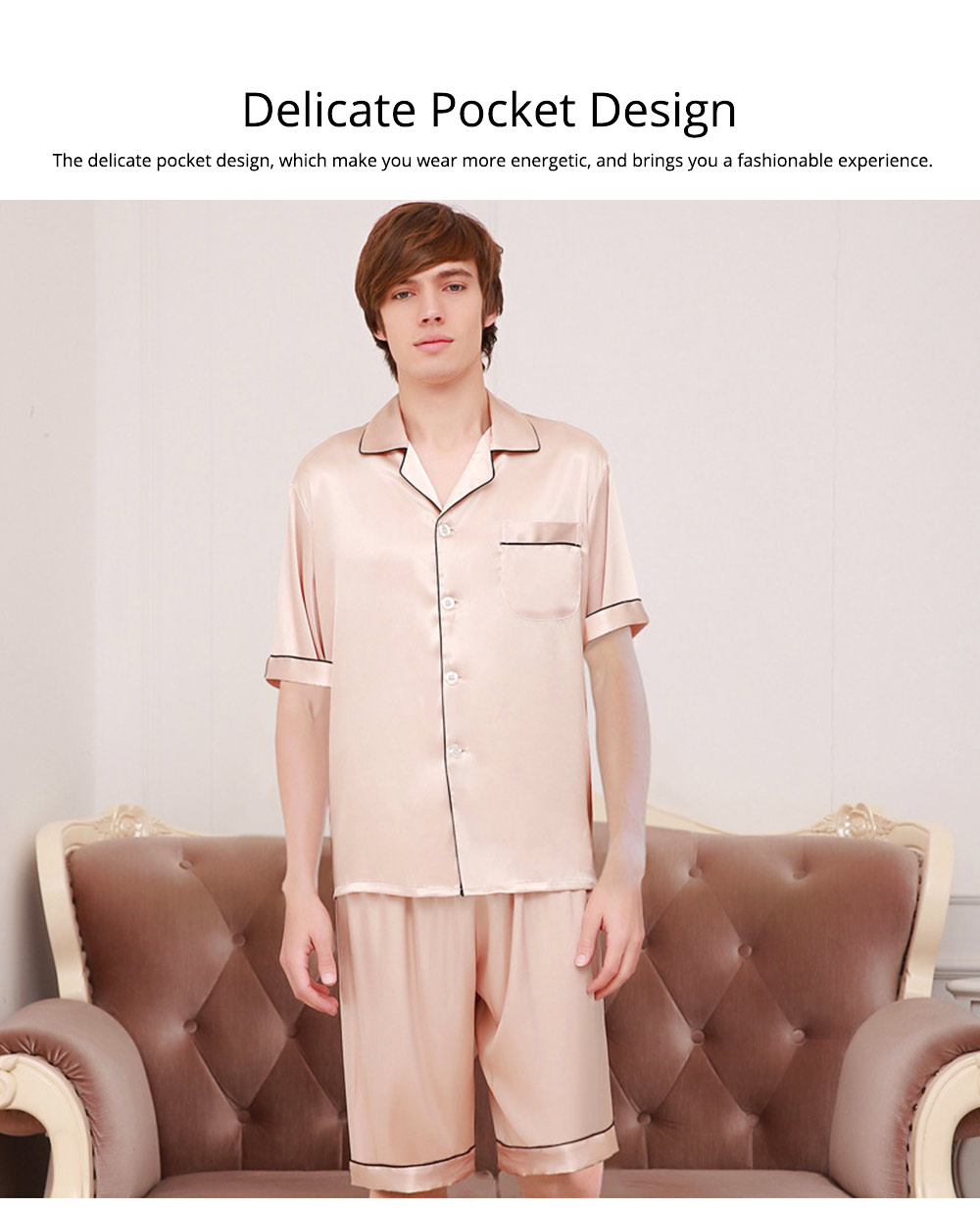 Couple Nightclothes Suit, Polyester Material Silky Feeling Soft Pajamas, Skin-friendly Nightgown Short Sleeve Shirts Pants, Breathable Nightdress for Couples Summer 2