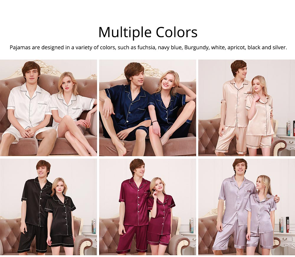 Couple Nightclothes Suit, Polyester Material Silky Feeling Soft Pajamas, Skin-friendly Nightgown Short Sleeve Shirts Pants, Breathable Nightdress for Couples Summer 4