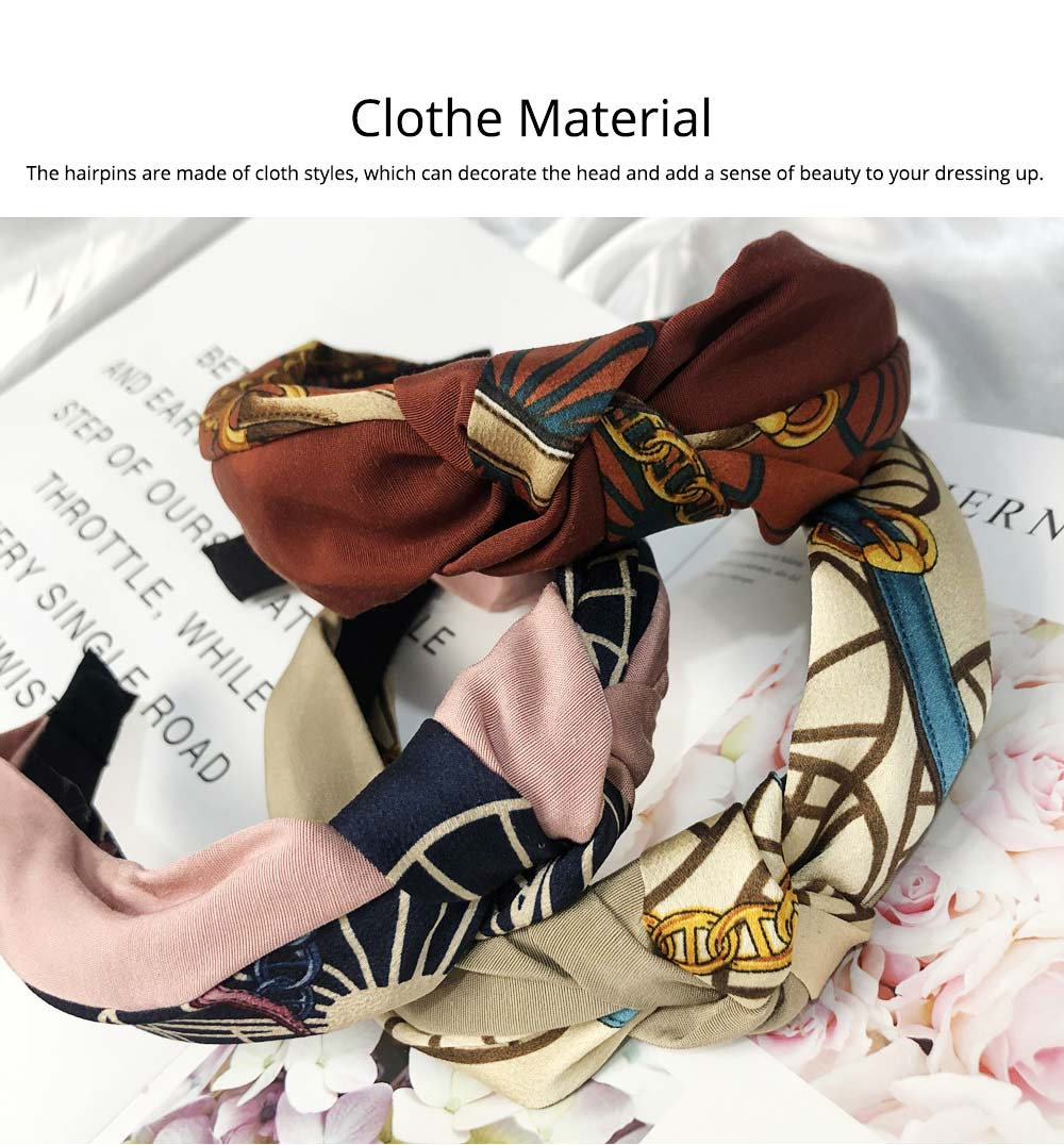 Hairpins Cloth Material Plaid Pattern, Decorations Sweet Style Hairpins for Girls, Knotted Strap Wide Hair Ornaments 1