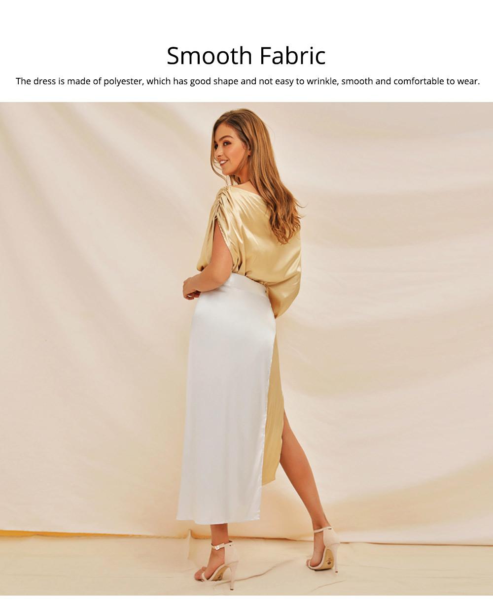 Sloping Shoulder Women Dress, Sexy Fashion Champagne Irregular Casual Dress, High Slit Short Sleeve Elegant Dress 2019 New 1