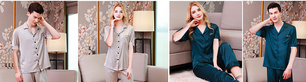 Silk Couple Pajamas, Soft Nightdress Skin-friendly Nightgown, Thin Breathable Short Sleeve V-neck Design Summer Nightclothes for Lover 6