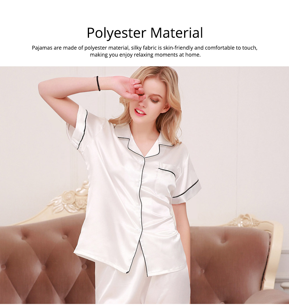 Couple Nightclothes Suit, Polyester Material Silky Feeling Soft Pajamas, Skin-friendly Nightgown Short Sleeve Shirts Pants, Breathable Nightdress for Couples Summer 5